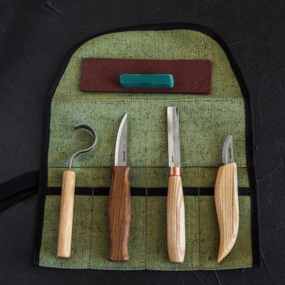S43 – Spoon and Kuksa Carving Professional Set with Knives and Strop BeaverCraft
