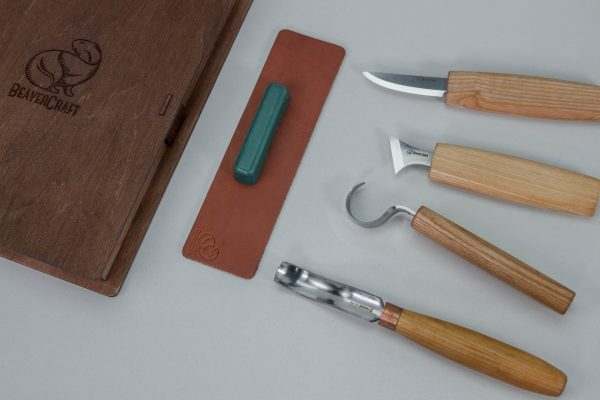 S19 book – Spoon Carving Set of 4 Tools in a Book Case - 3