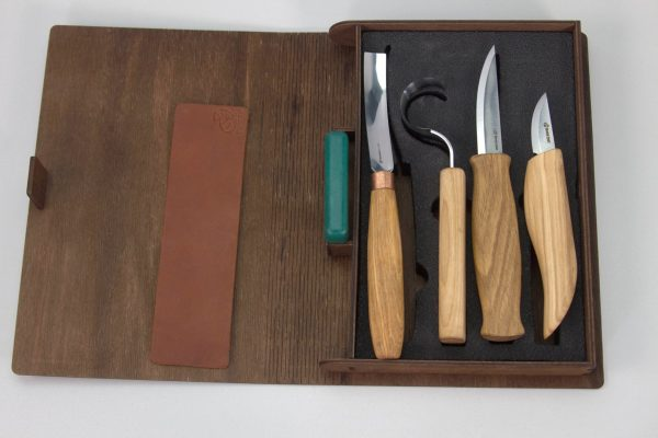 S43L book – Spoon and Kuksa Carving Professional Set with Knives and Strop in a Book Case BeaverCraft (left-handed) - 2